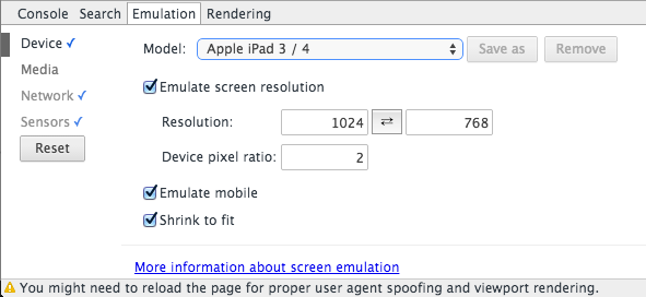 Device Emulation Options